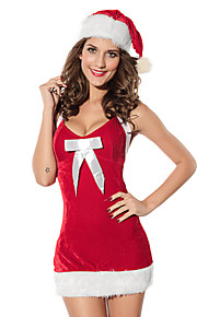 Christmas Costume Women's Polyester Sexy Backless Bowknot Dress with Hat Red