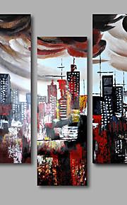 håndmalede olie maleri på lærred væg kunst contempory bygning city abstrakt tre panel klar til at hænge