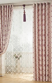 Two Panels European Contracted Simple But Elegant Fashion High-Grade Flax Chenille Jacquard Curtains