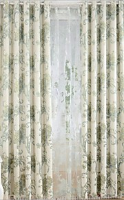 Two Panels Europe Contracted Simple But Elegant High-Grade Fashion Linen Jacquard Curtains
