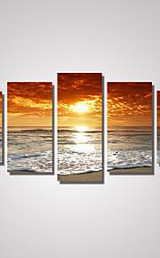 Loisir / Paysage / Photographie / Romantique Toile Cinq Panneaux Prêt à accrocher , Format Horizontal