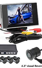 renepai® 3,5-дюймовый 4 зонд парковочные датчики ЖК-дисплей камеры видео автомобиля обратный Резервное копирование радар Комплект системы