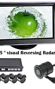 renepai® 5-дюймовый 4 датчика парковочные датчики ЖК-дисплей камеры видео автомобиля обратный Резервное копирование радар Комплект системы