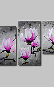 Hand-Painted Oil Painting on Canvas Wall Art Modern Flowers Purple MagnliaThree Panel Ready to Hang