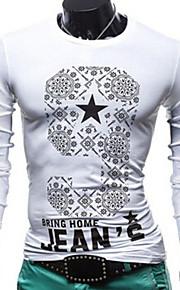 Masculino Camiseta Casual Estampado Elastano Manga Comprida Masculino