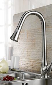Keukenkraan Modern Met uitneembare spray Messing Geborsteld