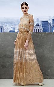 Formeller Abend Kleid - Champagner Tülle - A-Linie - bodenlang - Juwel-Ausschnitt