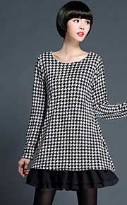 Women's Print / Patchwork Black Dress , Casual / Plus Sizes Round Neck Long Sleeve