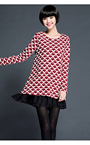 Women's Print / Patchwork Red / Black Dress , Casual / Plus Sizes Round Neck Long Sleeve