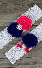 Stretch Satin / Lace Wedding Bride Garter with Flower / Imitation Pearl