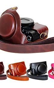 dengpin pu læder kamerataske taske dække med skulderrem til Sony DCS-RX100 m4 RX100 iv (assorterede farver)