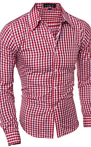 Men's Long Sleeve Shirt , Cotton / Polyester Casual / Work Checked Shirt.