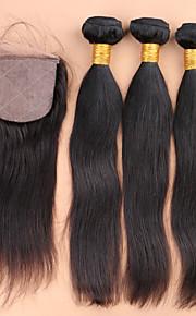 SLOVE волос необработанный 100% малазийский девственной волосы прямые продление 3 расслоения с 4 * 4 шелковой качества закрытие верхней