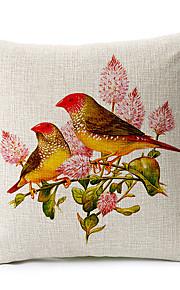 Birds Pattern Cotton/Linen Decorative Pillow Cover
