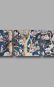 Abstrakt / Landskap / Botanisk Lerret Print Tre Paneler Klar til å henge , Vannrett