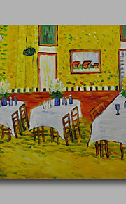 Ready to hang Stretched Hand-Painted Oil Painting Canvas Van Gogh repro Interior of a Restaurant One Panel