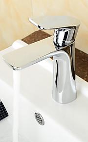 eigentijdse verchroomde messing warme en koude enkel handvat badkamer wastafel kraan wastafelmengkraan