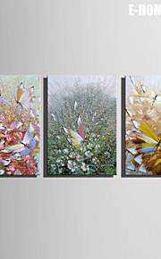 Dyr / fantasi / Botanisk Lerret Print Tre Paneler Klar til å henge , Lodrett