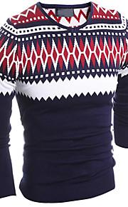 Masculino Pulôver Médio Casual / Escritório / Formal / Esporte / Tamanhos Grandes Xadrez / Cor Solida Cashmere / Algodão / LinhoManga