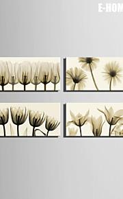 Botanisk Lerret Print Fire Paneler Klar til å henge , Lodrett
