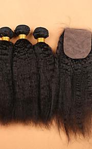 SLOVE волосы Малайзии класса 7а необработанный 100% человеческий волос девственница странный прямые пучки с шелковой базовой закрытия