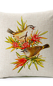 Country Birds Love Cotton/Linen Decorative Pillow Cover