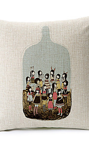 Country Style Girls in Bottle Cotton/Linen Decorative Pillow Cover