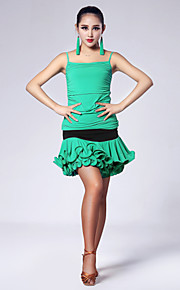 Imported Nylon Viscose with Ruched Latin Dance Outfits for Women's Performance (More Colors)