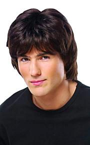 физических мужские парик ручной связали-топ девственница Remy монолитным парики человеческих волос