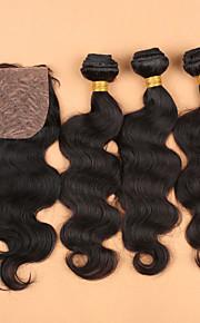 7а SLOVE волос необработанный 100% человеческий волос Девы Малайзии тело волна расслоения с шелковой базовой закрытия