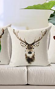Set of 3 Deer Family Cotton/Linen Decorative Pillow Cover