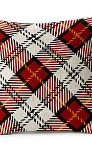 Country Red Geometric Cotton/Linen Decorative Pillow Cover