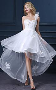 Robe de Mariage  - Blanc Trapèze Une Bretelle Asymétrique Asymétrique