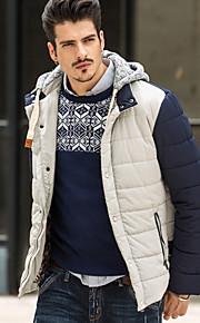 男性用 レギュラー パーカー コート , ポリエステル プレイン 長袖