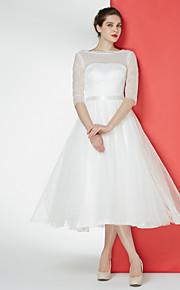 robe de mariée une ligne - ivoire thé longueur dentelle bateau / tulle