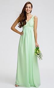 Lan TingKnee-length Chiffon / Lace Bridesmaid Dress - Sage Sheath/Column V-neck