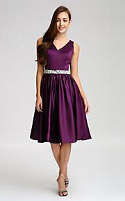Lan TingKnee-length Satin Bridesmaid Dress - Grape A-line V-neck