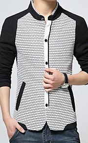 남성의 자켓 줄무늬 / 퓨어 / 패치 워크 긴 소매 캐쥬얼 면 / 폴리에스테르,블루 / 화이트
