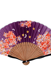 Japanese folding bamboo Silk Fans - 1 Piece/Set Hand Fans Floral Theme / Butterfly Theme Lilac