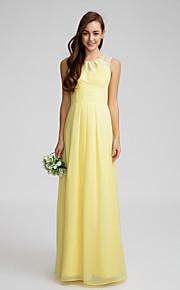 Lan TingFloor-length Chiffon Bridesmaid Dress - Daffodil Sheath/Column Jewel