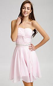 Lan TingShort/Mini Chiffon Bridesmaid Dress - Blushing Pink A-line Strapless