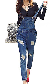 Women's Solid Dark Blue/Light Blue Denim Suspender Jeans Hole