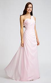 Lan TingFloor-length Chiffon Bridesmaid Dress - Blushing Pink Sheath/Column One Shoulder