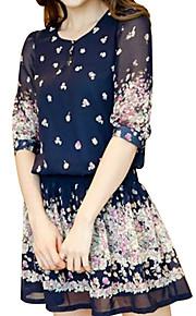 Damen Skater Kleid-Lässig/Alltäglich / Übergröße Blumen Rundhalsausschnitt Mini ½ Länge Ärmel Blau Polyester Sommer