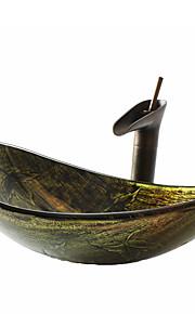 Conjunto de Pia de Banheiro - DE Vidro Temperado - Antiquado ( Vidro Temperado )