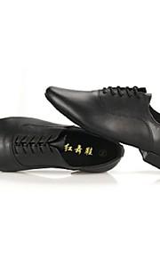 Non Customizable Men's Dance Shoes Latin / Jazz Leather Chunky Heel Black