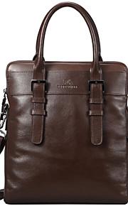 X.BNJ Men Briefcase Top Grade Genuine Leather Business Handbag Vintage First Layer Cowhide Shoulder Bags Brown