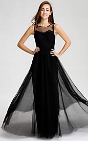 Floor-length Tulle Bridesmaid Dress - Black A-line Bateau