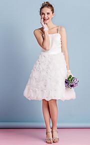 Lanting une ligne robe de mariée - ivoire genou bretelles spaghetti organza / satin