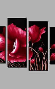Peint à la main A fleurs/BotaniqueModern Quatre Panneaux Toile Peinture à l'huile Hang-peint For Décoration d'intérieur